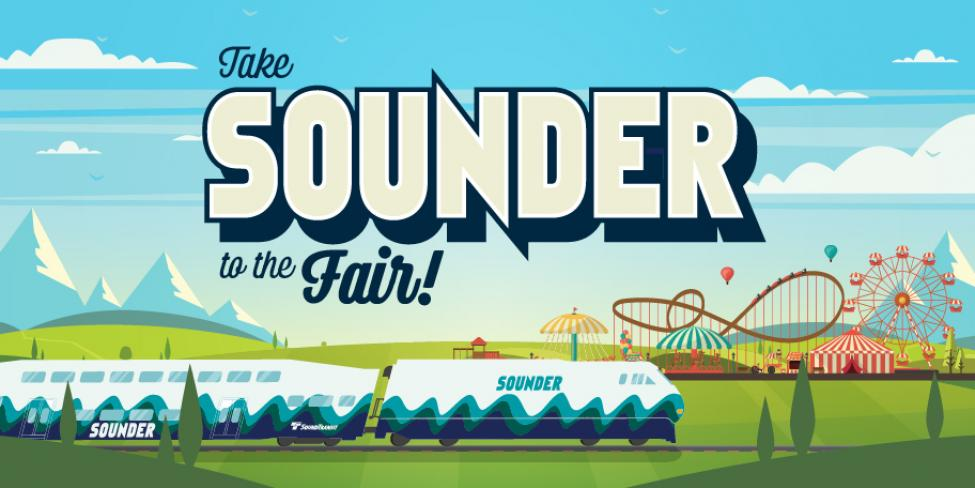 Ride Sounder to the Washington State Fair illustration graphic.
