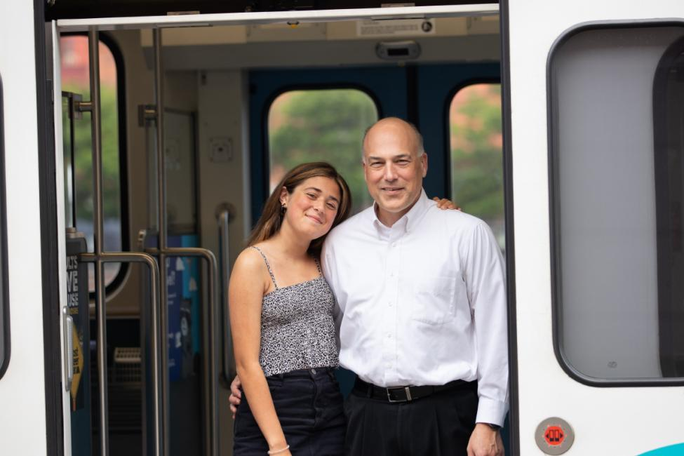 A father and his 15-year-old daughter on Link light rail today.