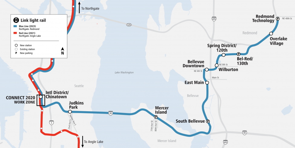 Blue Line trains will serve 19 stations from Northgate to Redmond, including 10 new stations in Judkins Park, Mercer Island, Bellevue and Redmond.