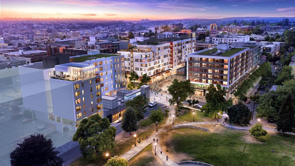 A rendering of what the transit-oriented development under construction at the Capitol Hill light rail station will look like this when it's complete.