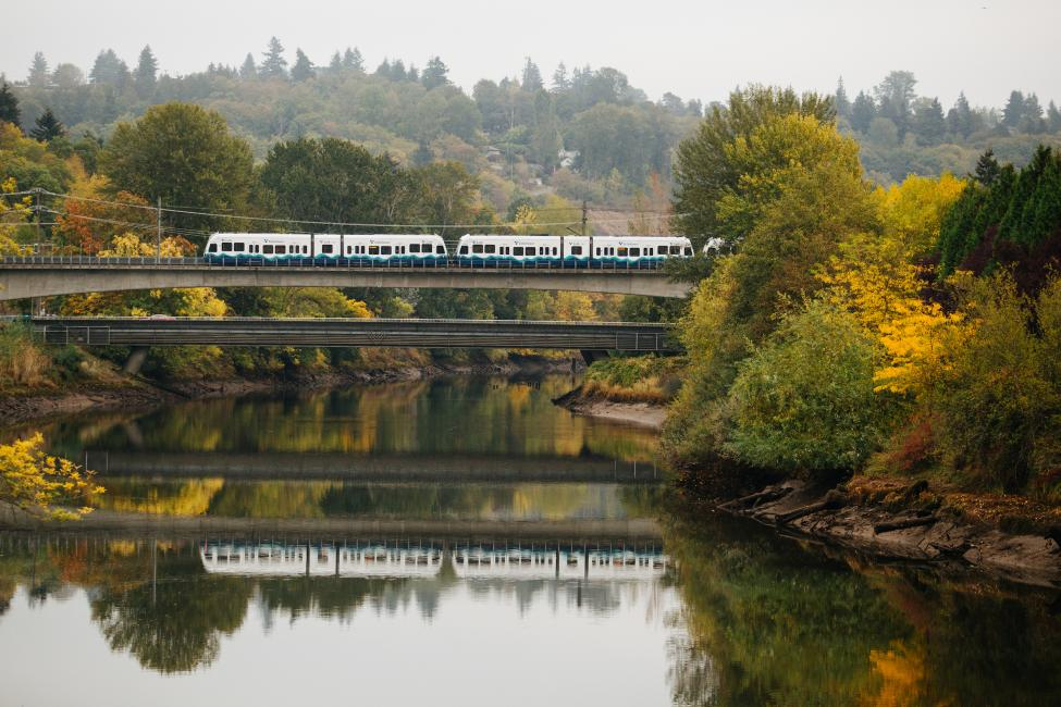 A Link light rail train crosses the Duwamish River.