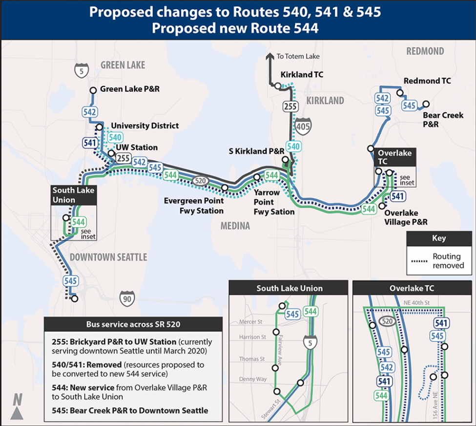 Map of future service for SR 520 for the 2020 Service Implementation Plan.