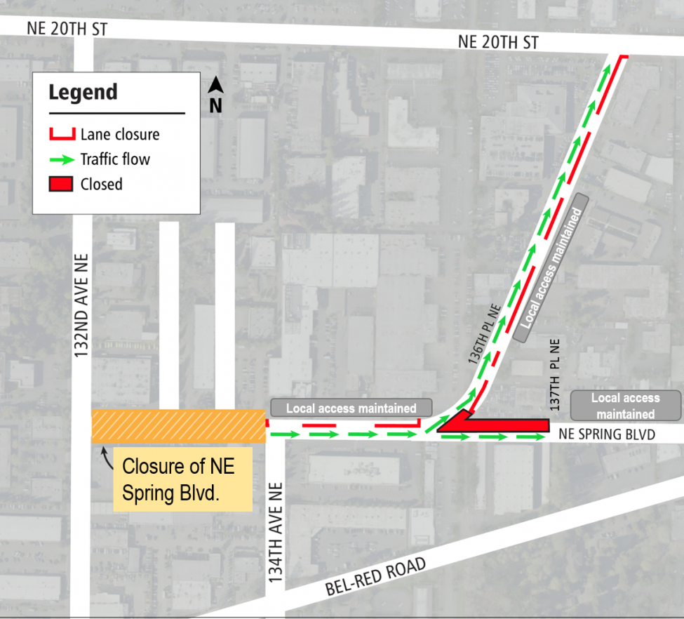 Map of NE Spring Blvd closure