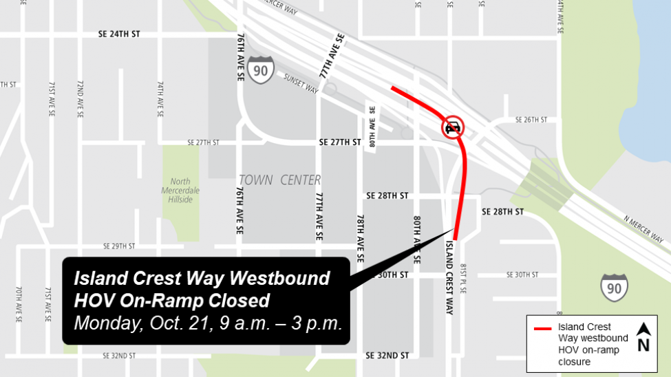 Map of Island Crest Way westbound HOV on-ramp closure on Mercer Island.