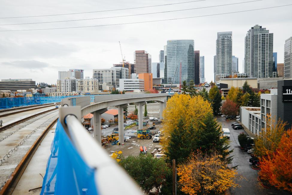 Downtown Bellevue can be seen from the light rail guideway by Wilburton Station.