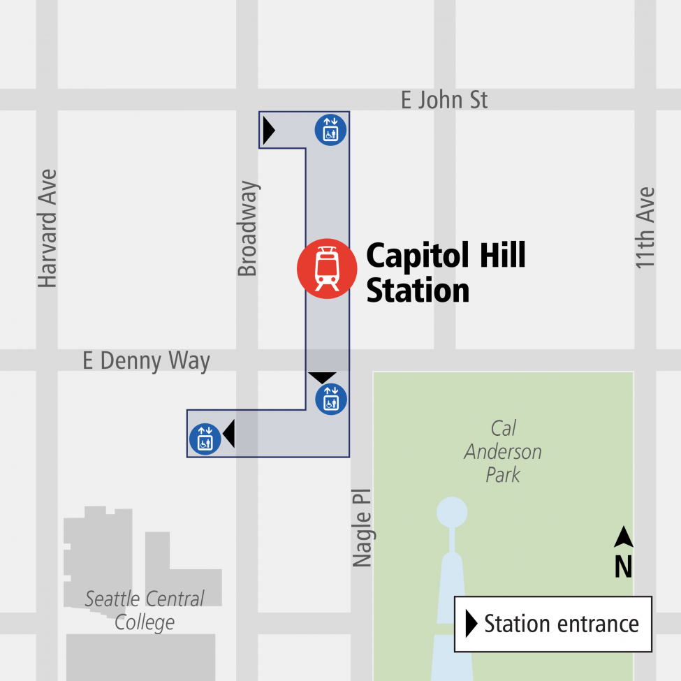 Capitol Hill Station entrance map