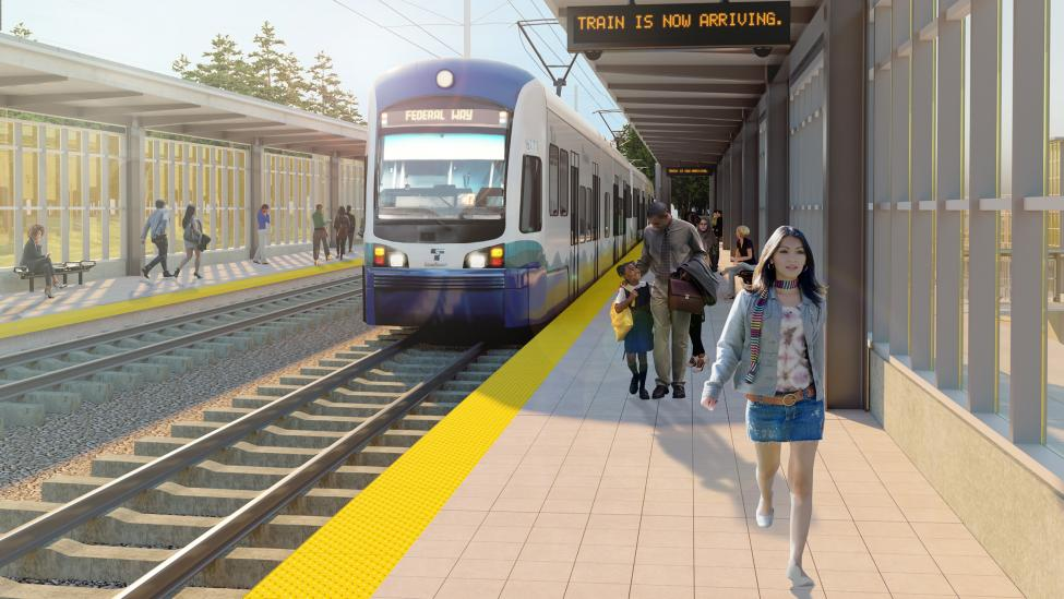 Rendering of a future Federal Way Link Extension station.