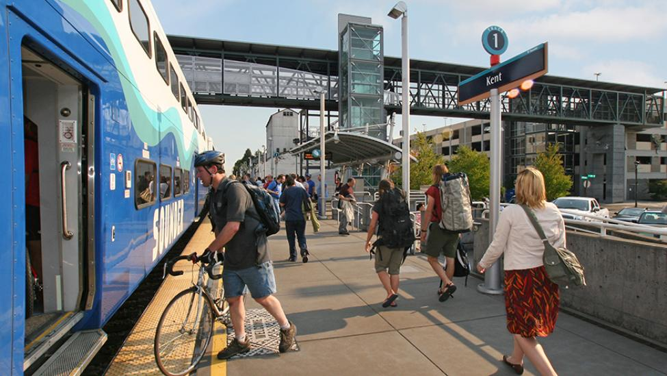 Passengers board a Sounder train at Kent Station.