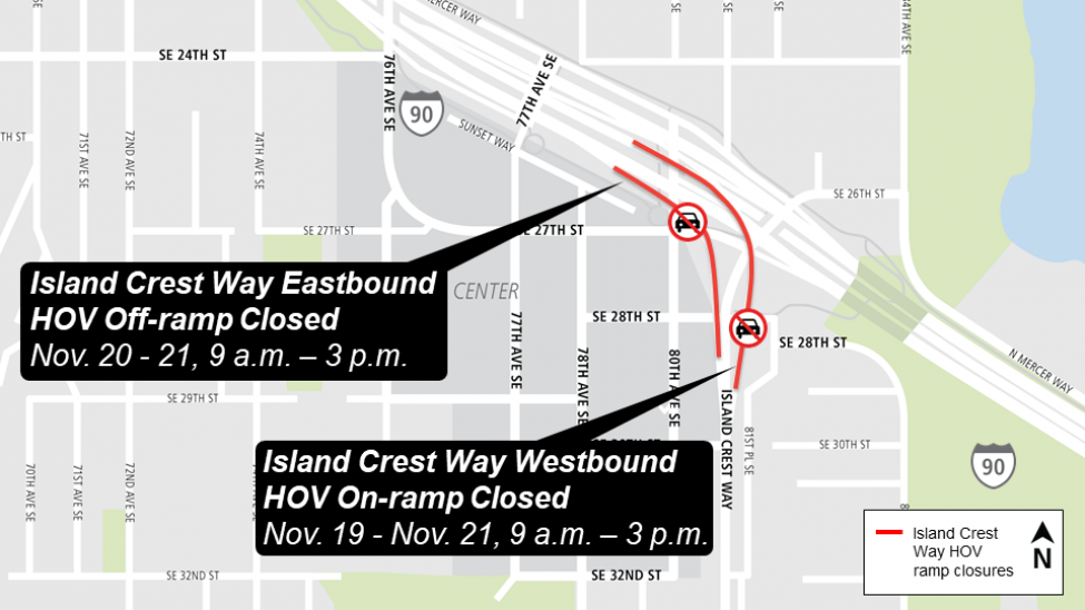Map of Island Crest Way Interstate 90 on/off ramp closures.