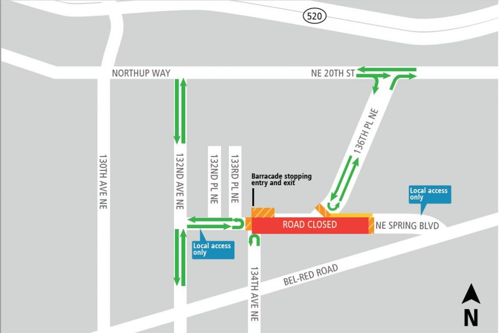 NE Spring Blvd full closure map