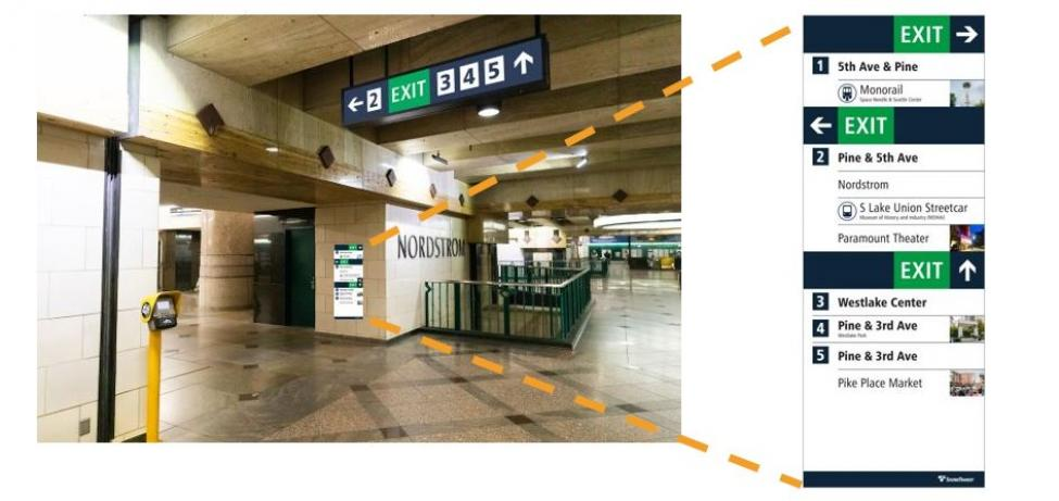 New directories, that display the numbered exits and photos of popular destinations, aim to help light rail riders navigate through downtown tunnel stations.
