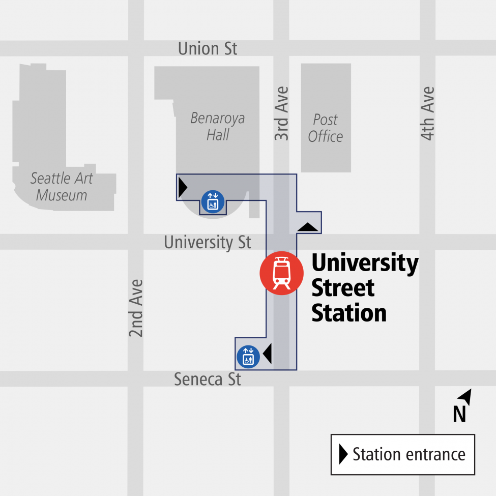 University Street Station entrance map