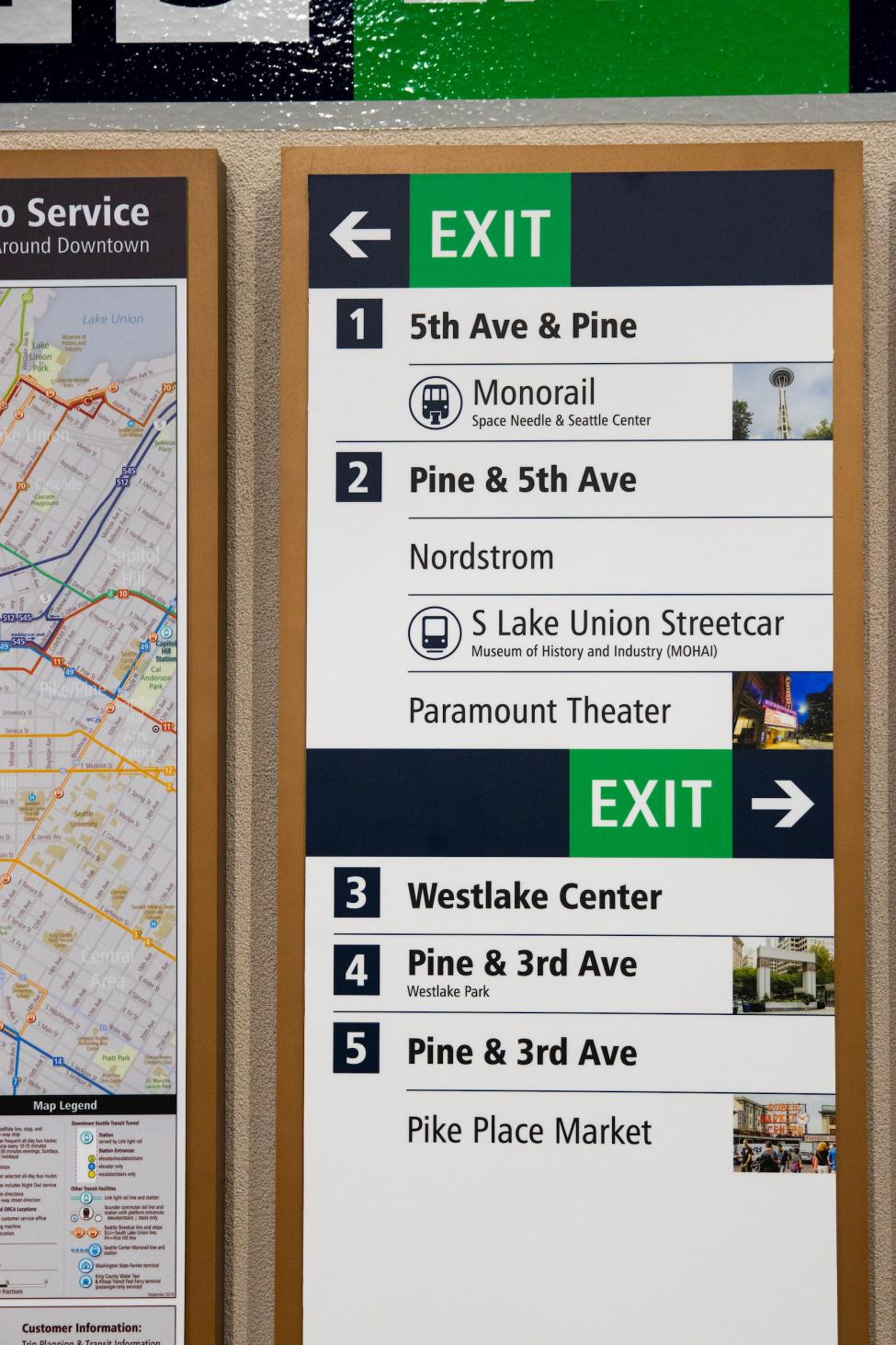 A photo of the new directory in Westlake Station shows how riders can get to the Monorail, Pike Place Market and more using the numbered exits.