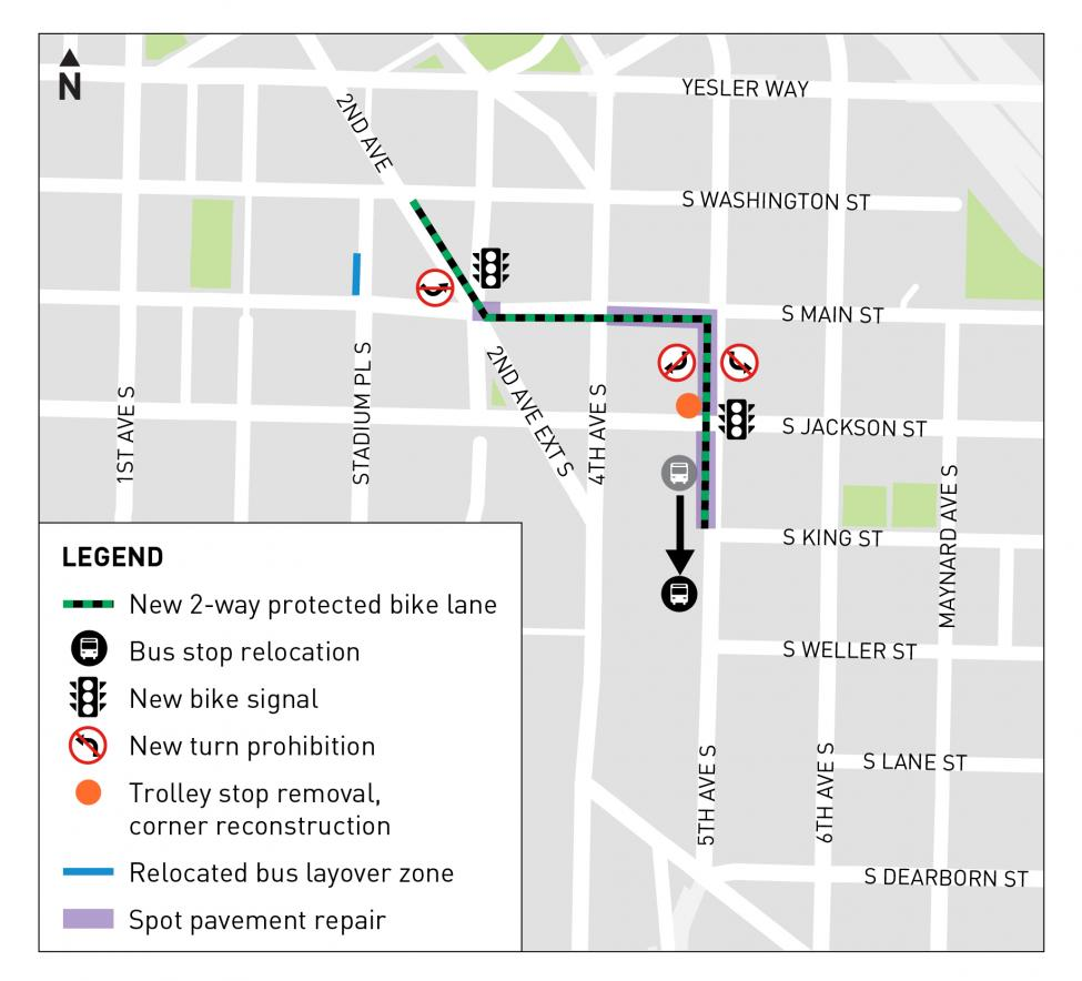 A map showing the protected bike lanes running north from the International District-Chinatown Station