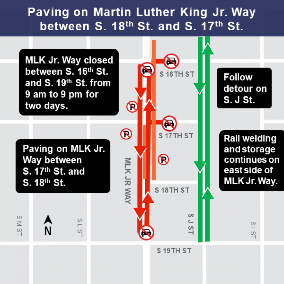 MLK and 18th St work area map