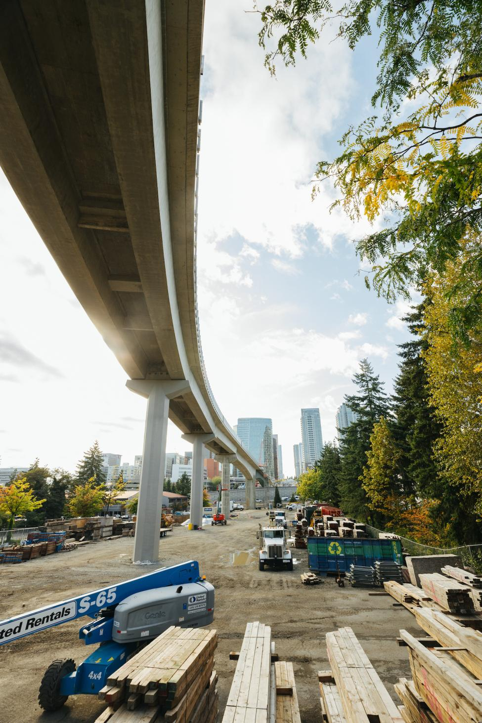 A view from underneath the new light rail bridge in downtown Bellevue.