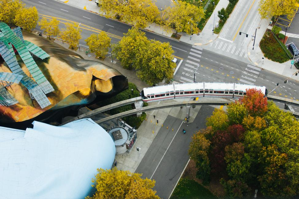 An aerial shot of the Seattle Monorail, as seen from the Space Needle.