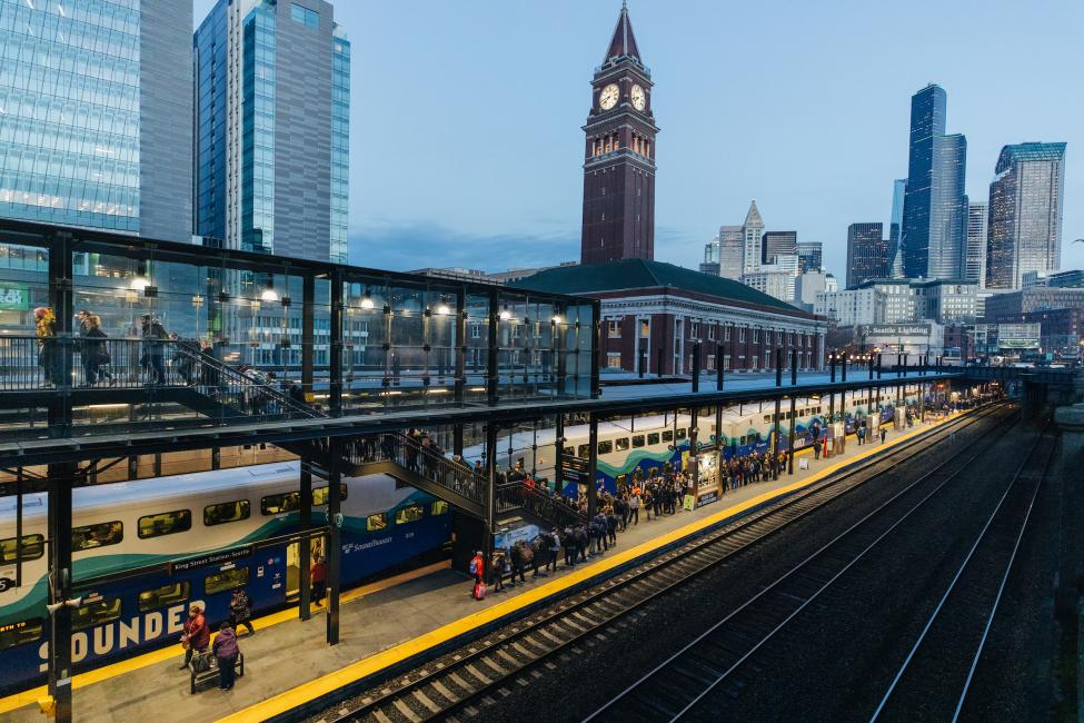 A shot of the Sounder platform, with King Street Station in the background.