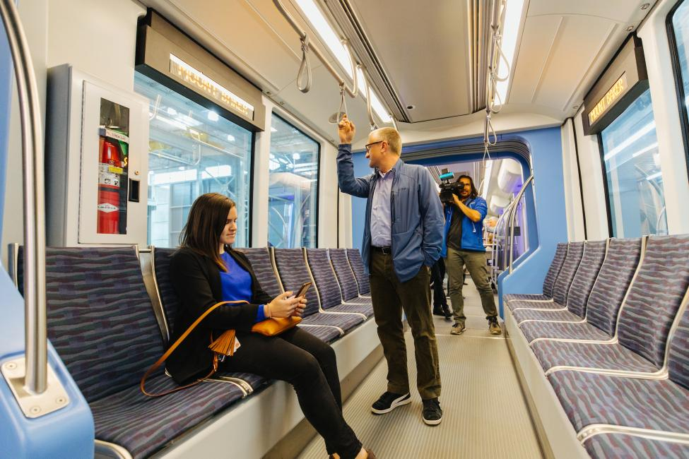When the newest light rail vehicle arrived, media and ST employees got a tour.