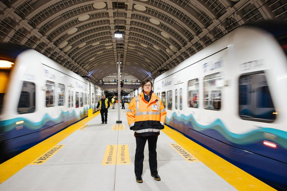 Executive Operations Director Marie Olson on the Pioneer Square Station center platform.