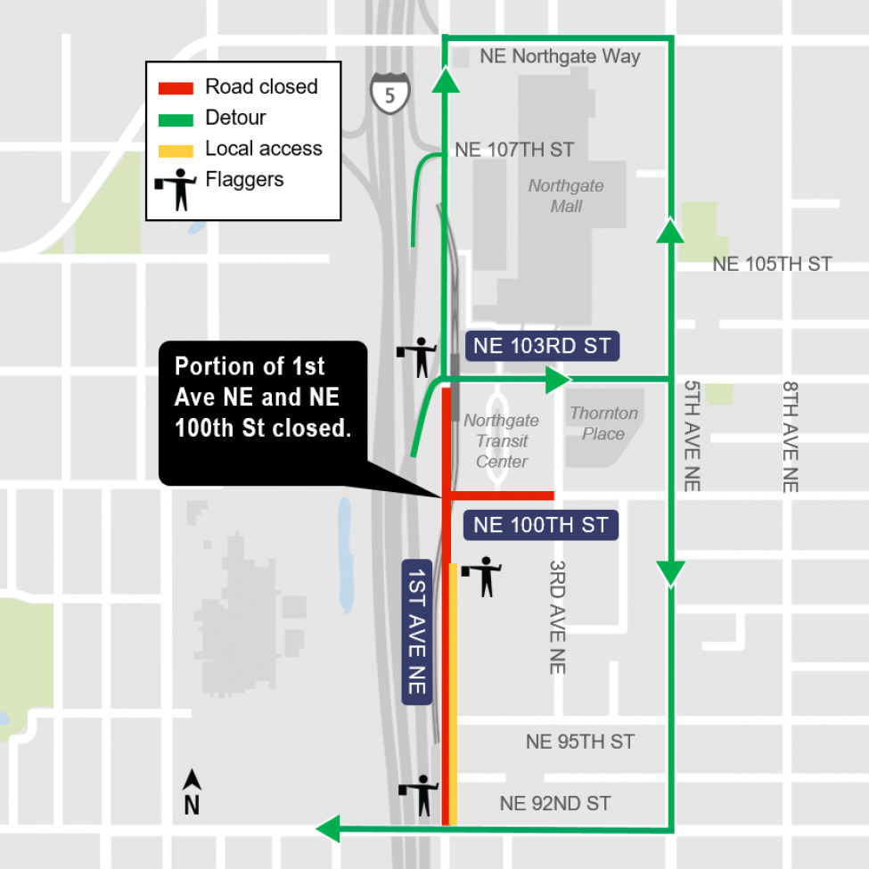 Map of partial closures of 1st Avenue Northeast and Northeast 100th Street.