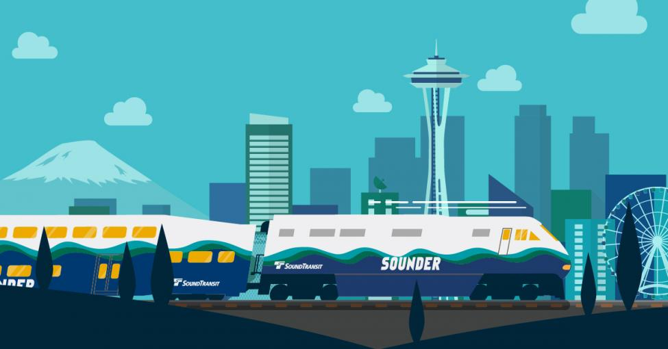 Illustration showing Sounder train in Seattle.