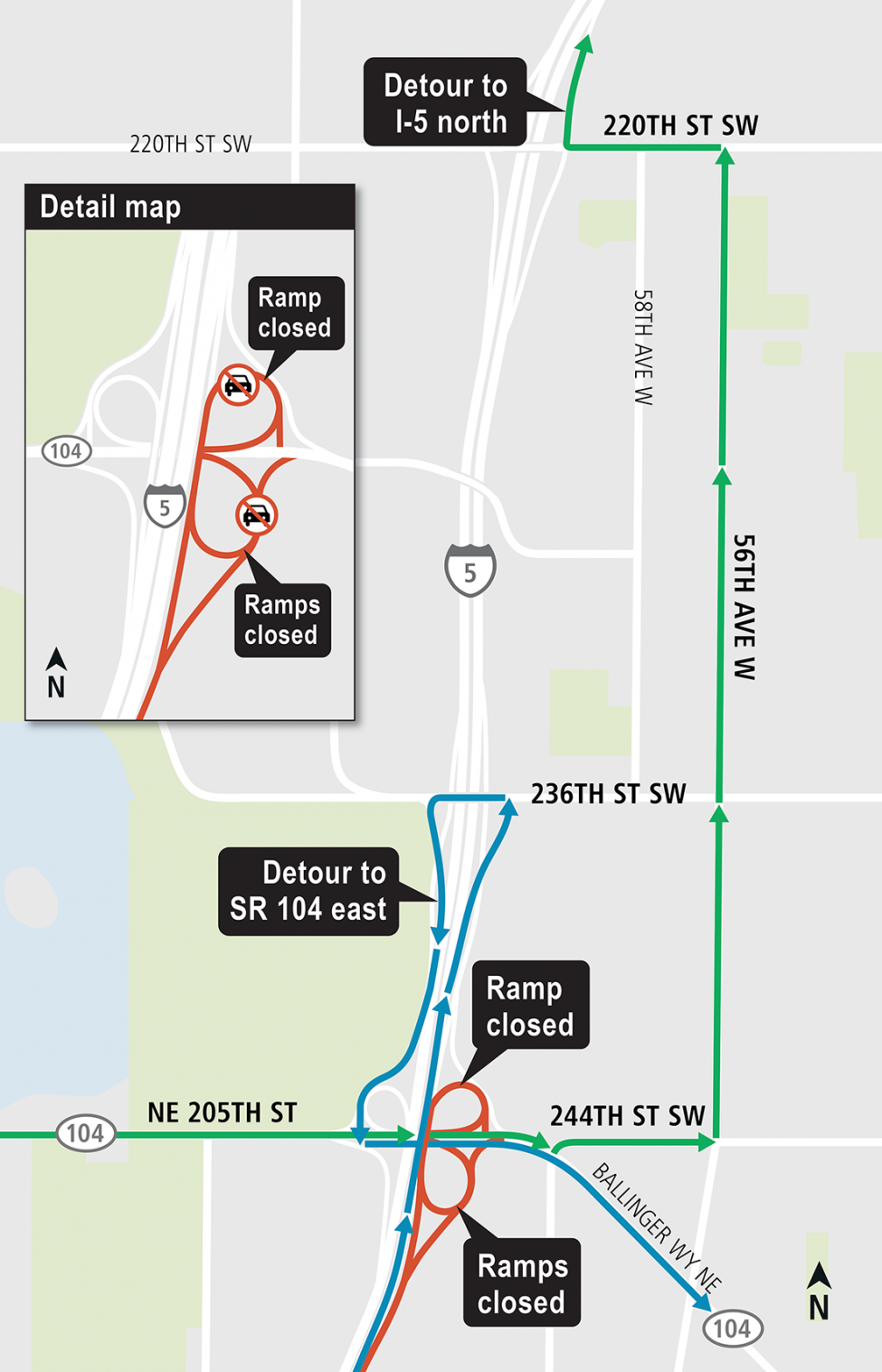 SR 104 East ramp closure detours