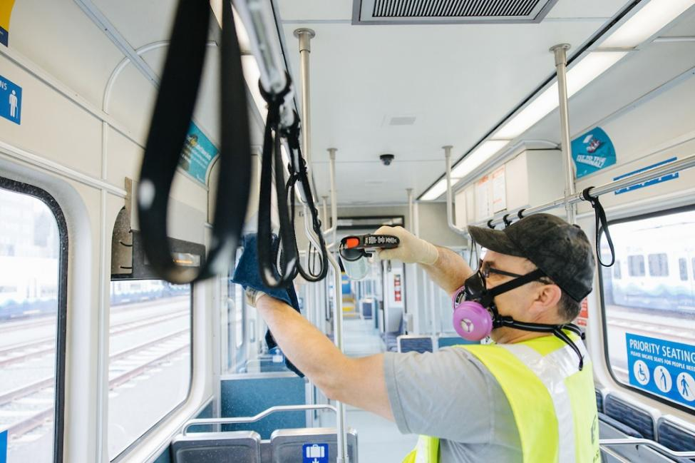 Disinfecting a Link light rail train