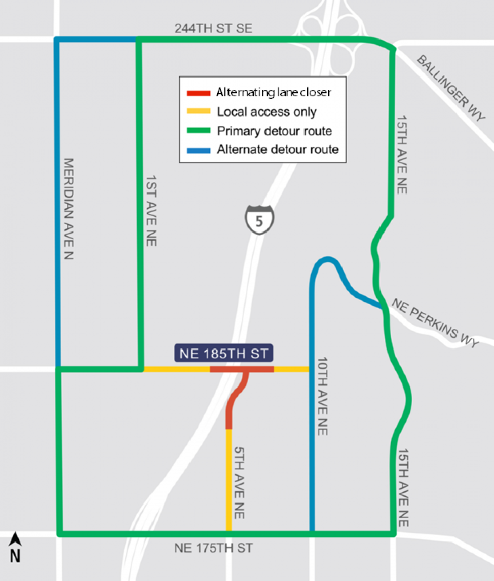 Map of the 185th and 5th Avenue NE area with detours