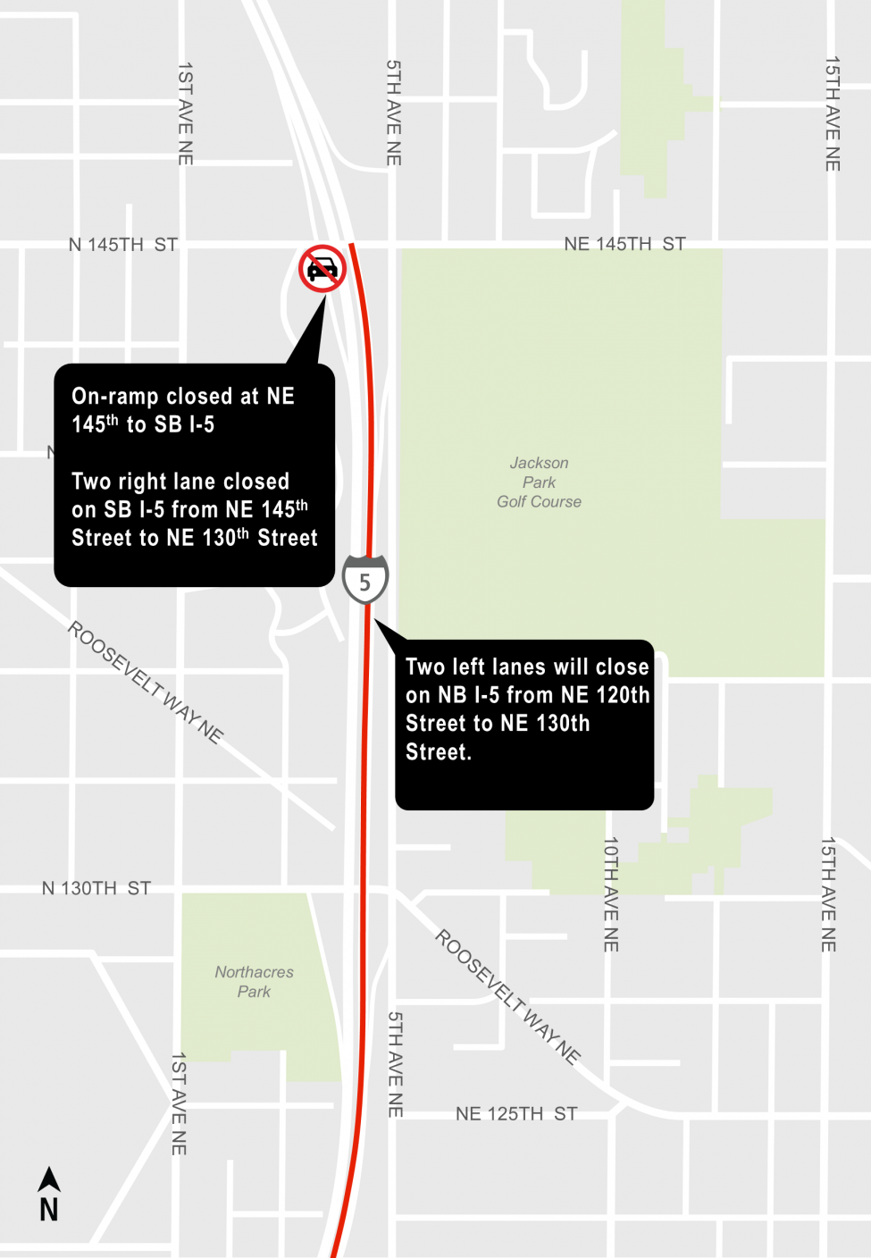 Map of lane closures on Interstate 5 near Northeast 145th Street.