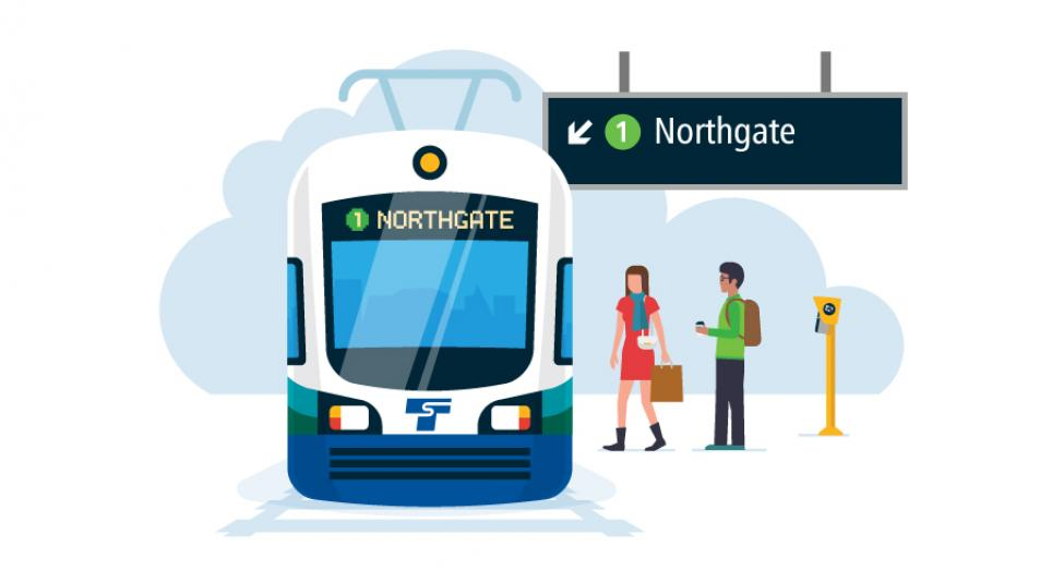 An illustration showing how the new line names will be displayed on Link trains and at stations