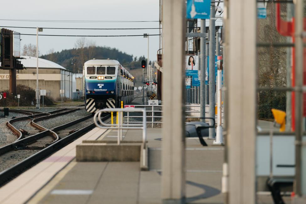 Sounder train arriving at South Tacoma Station