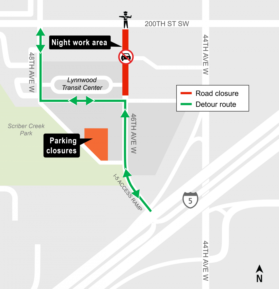 Map showing closure for intersection of 200th Street Southwest and 46th Avenue West in Lynnwood.