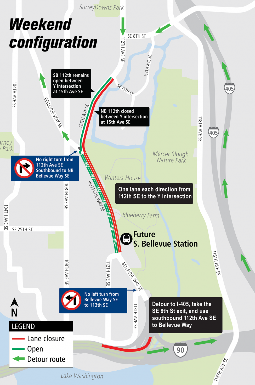 Map of lane restrictions and closures on Bellevue Way Southeast and 112th Avenue Southeast.
