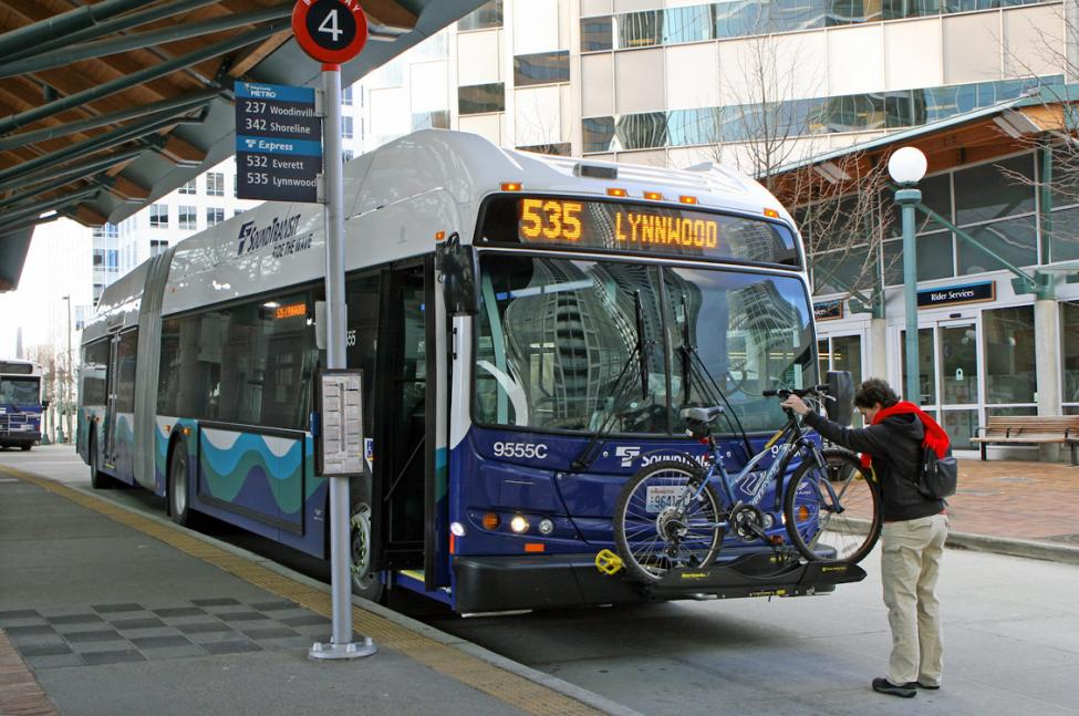 ST Express bus 535 at the Bellevue Transit Center.