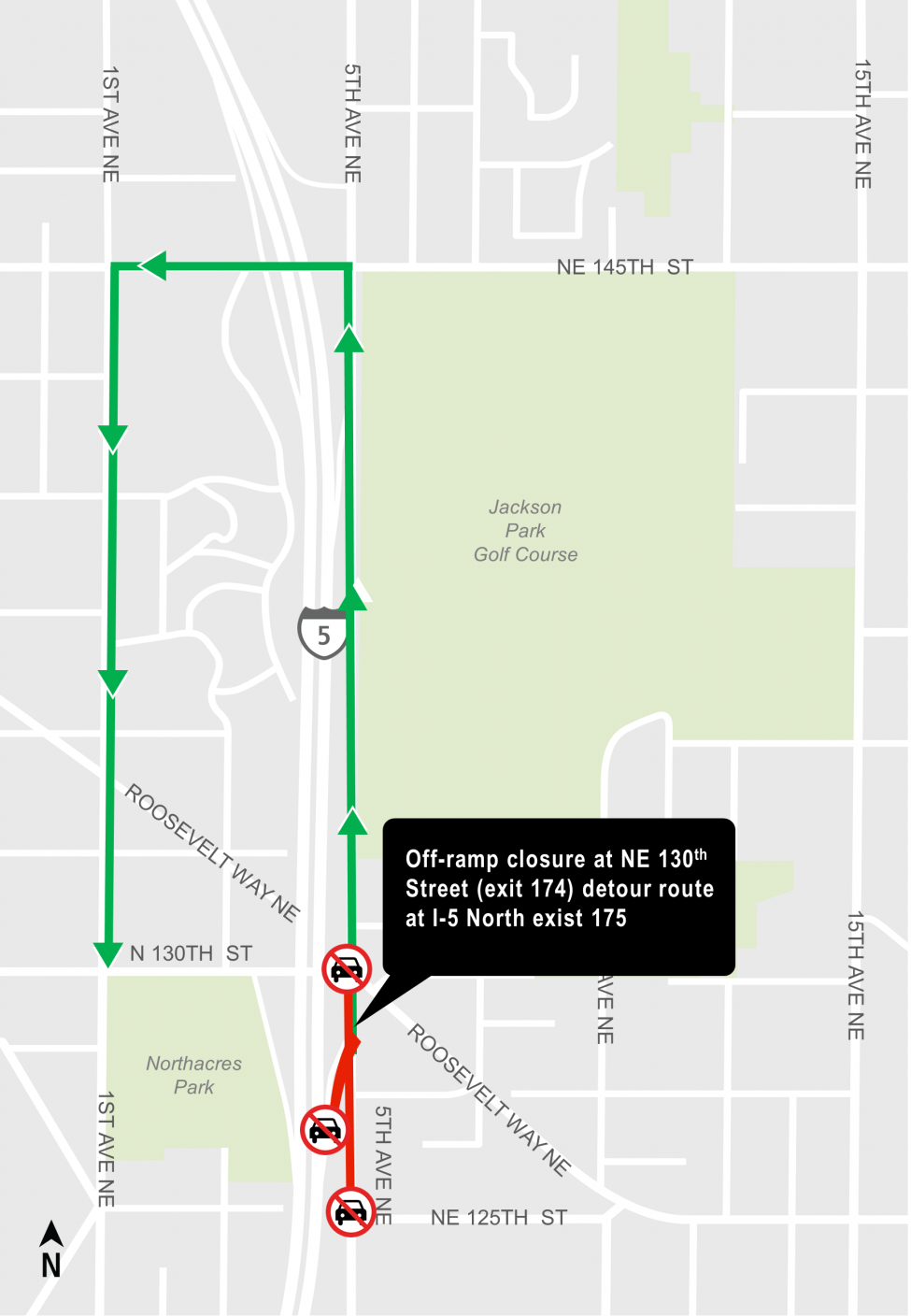 Map of Interstate 5 exit 174 at Northeast 130th Street closure and detour route.