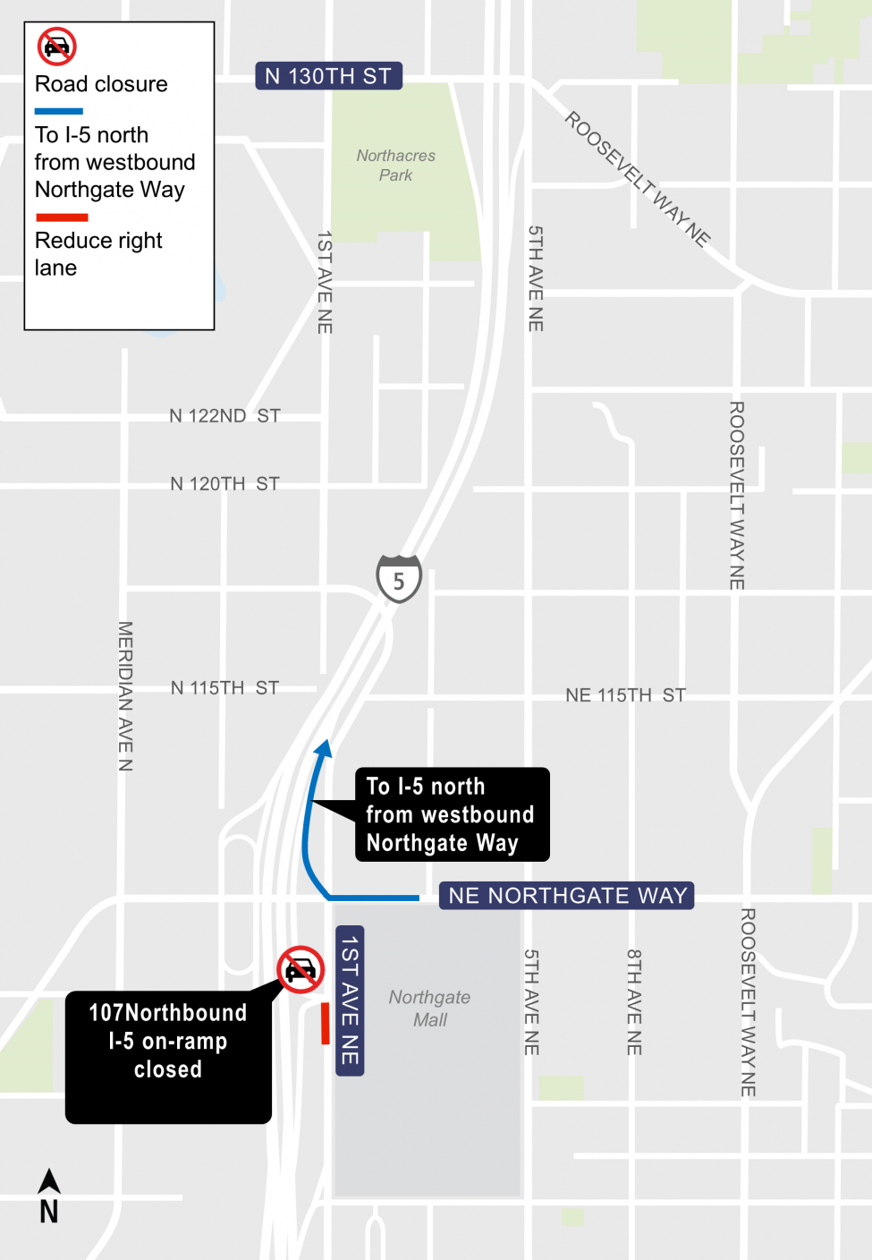 Map of Northeast 107 on-ramp to northbound Interstate 5 closure.