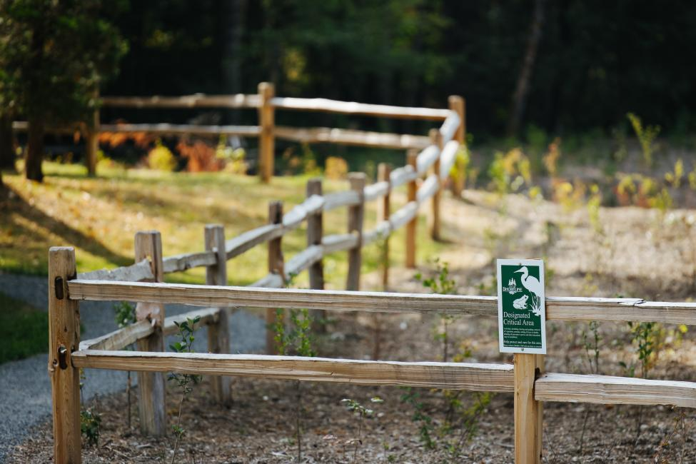 A green sign on a wood fence reads 'Designated Critical Area,'