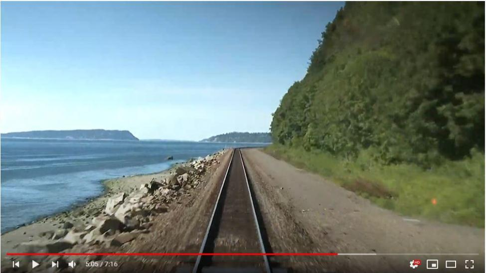 The view of Puget Sound as Sounder north commuter rail travels between Seattle and Everett along the coastline