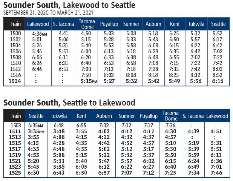 The Sounder south schedule