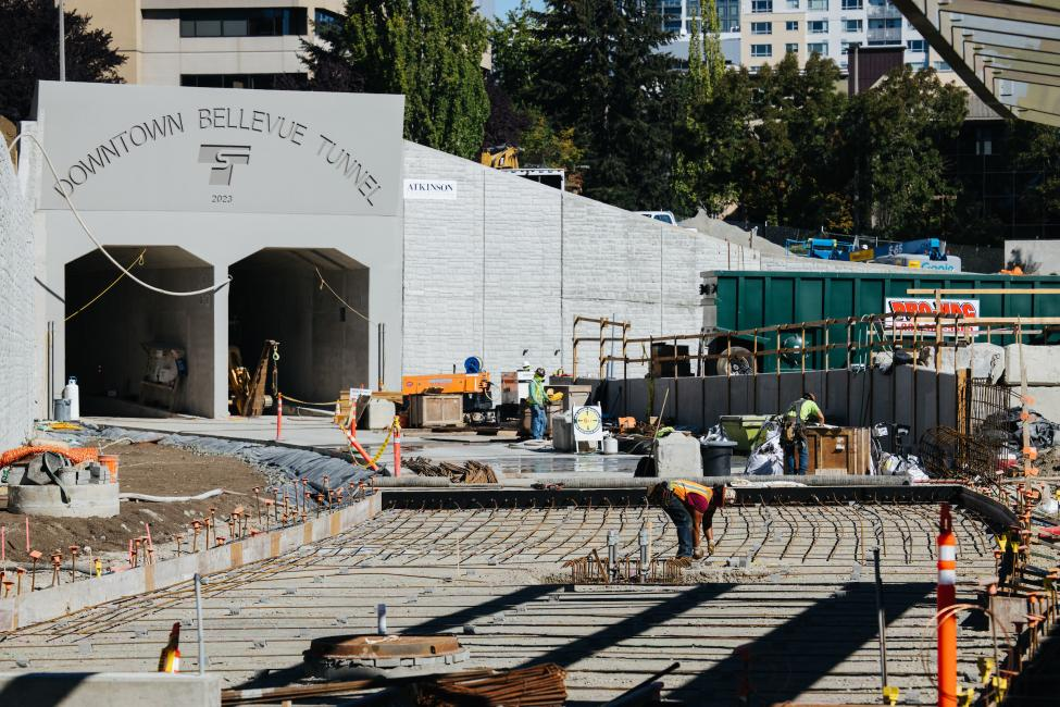A view of the downtown Bellevue tunnel entrance from East Main Station.