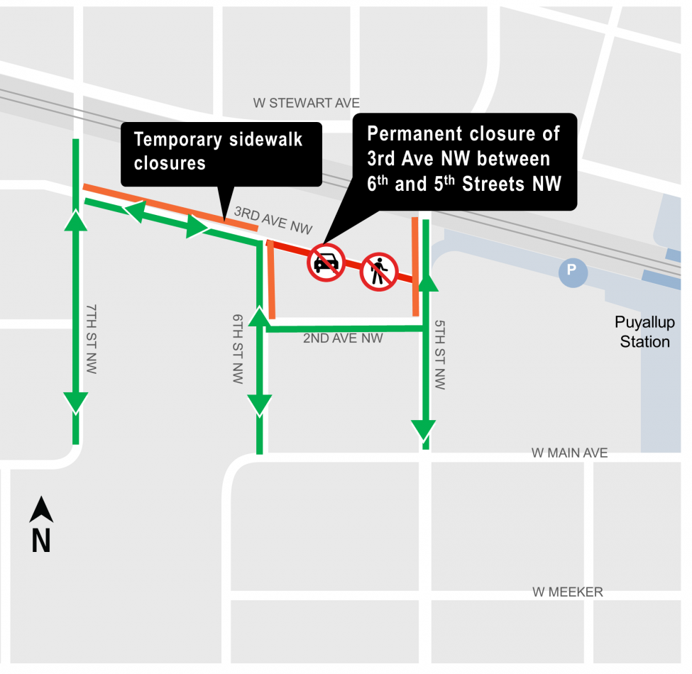 Map of permanent closure of 3rd Avenue Northwest between 6th and 5th Streets Northwest.