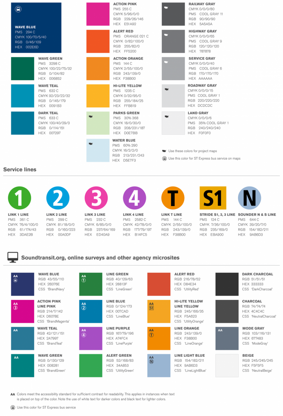 Illustration of the thumbnail guide for Sound Transit brand colors