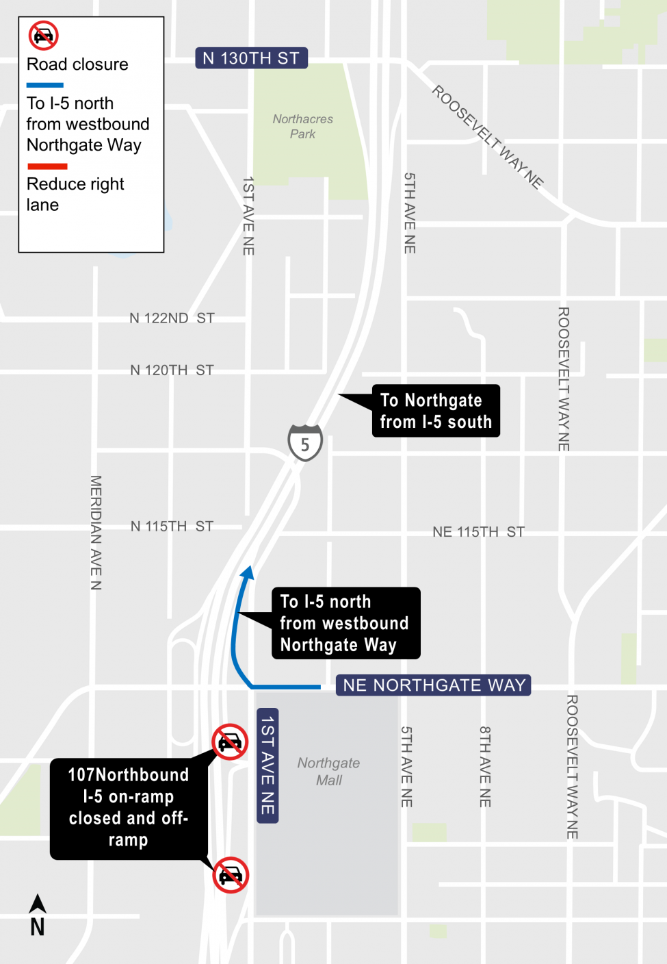 Map of closure of the Northeast 107 on-ramp to Interstate 5 in Northgate.