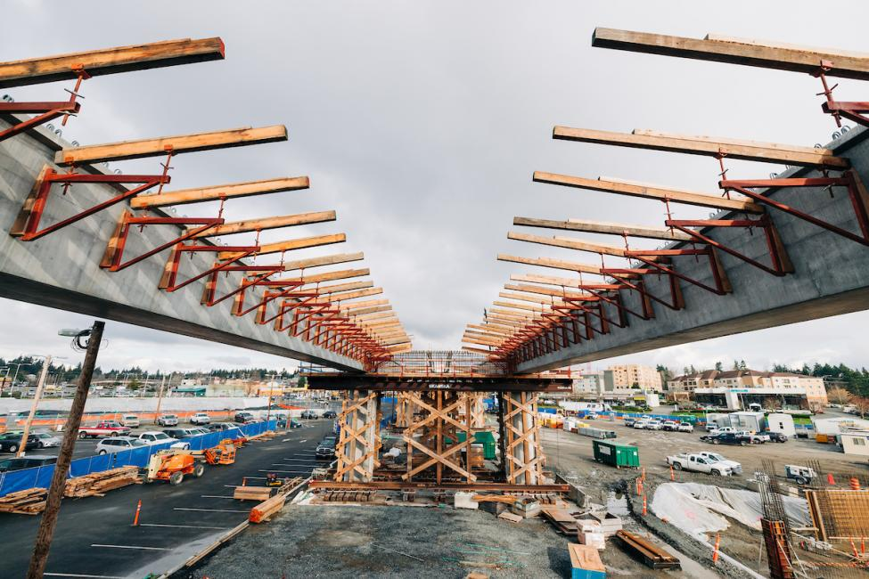 Girders that will support the light rail tracks leading into the Lynnwood City Center Station at the Lynnwood Transit Center.