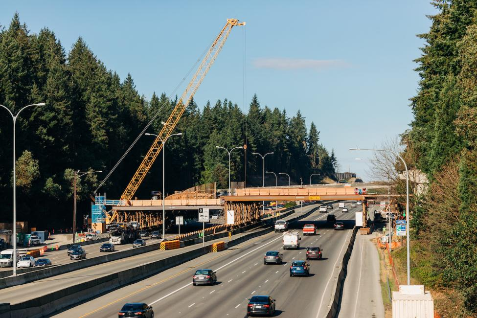 The temporary bridge over I-5 where tracks will cross from the east to the west side of the freeway.