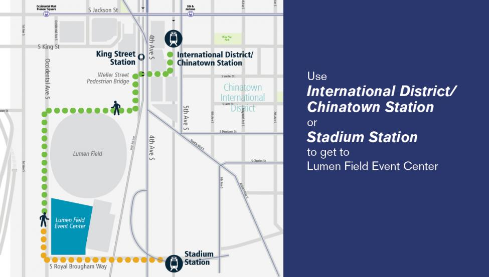 A map showing the walking route from the International District-Chinatown and Stadium light rail stations to the vaccination clinic at Lumen Field.