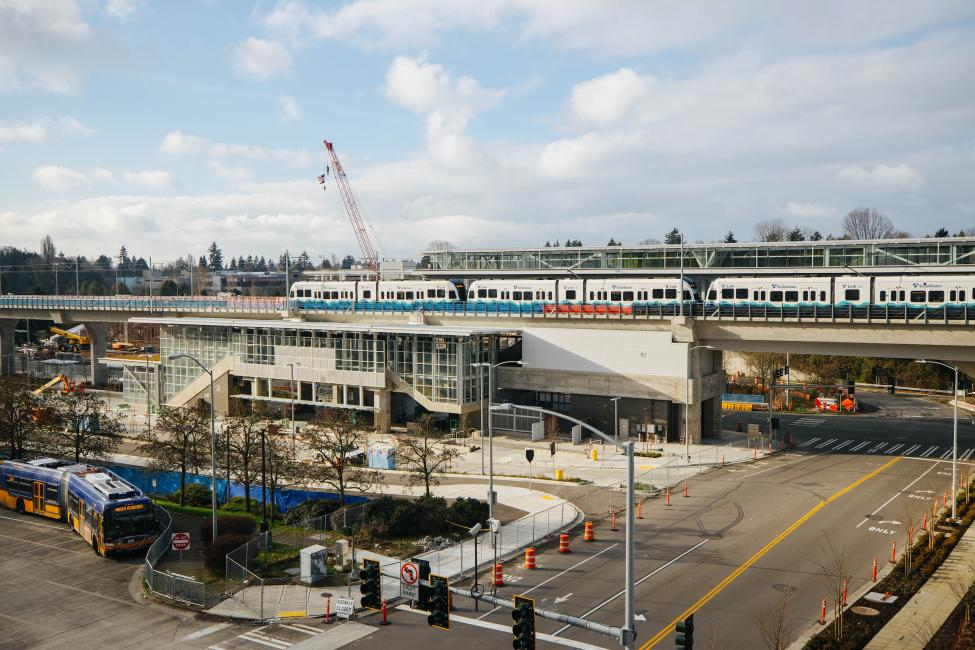 A Link train can be seen at the new Northgate Station as crews continue testing the light rail extension in preparation for opening.