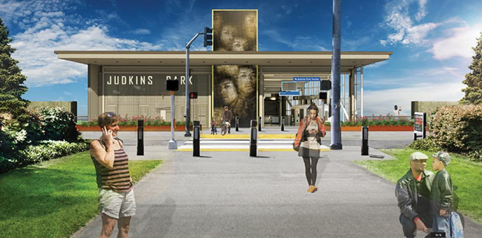 Artwork at the 23rd Avenue entrance to the future Judkins Park Station