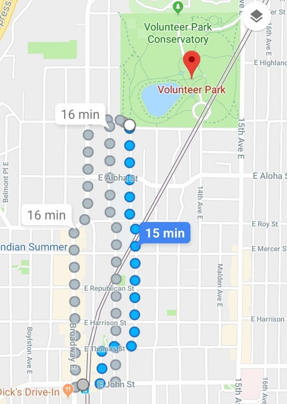 Walking directions to Volunteer Park from Capitol Hill Station